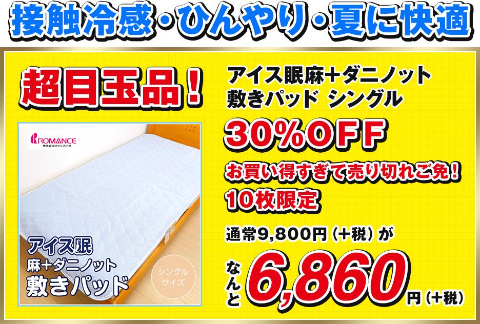 アイス眠麻+ダニノット敷きパッド シングル