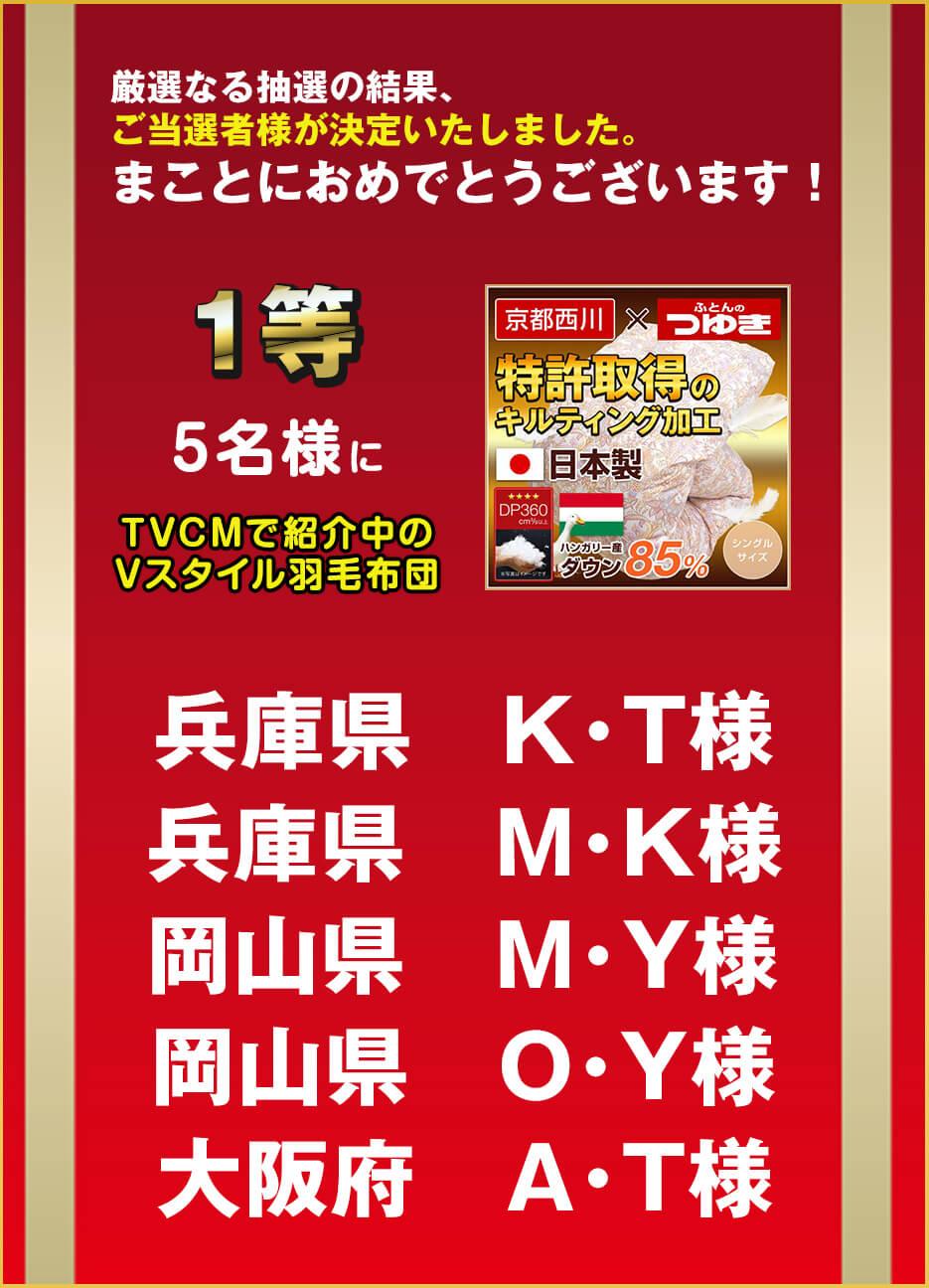 1等:5名様にTVCMで紹介中の商品「京都西川Vスタイルキルト羽毛布団」