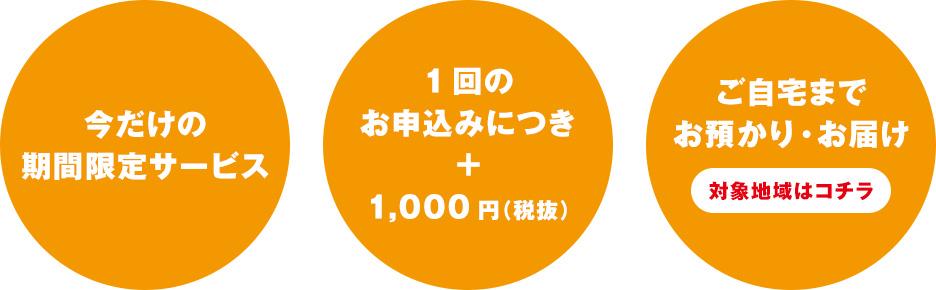 当社の指定地域限定・クリーニング代+1,000円(税抜)・ご自宅までお預かり・お届け