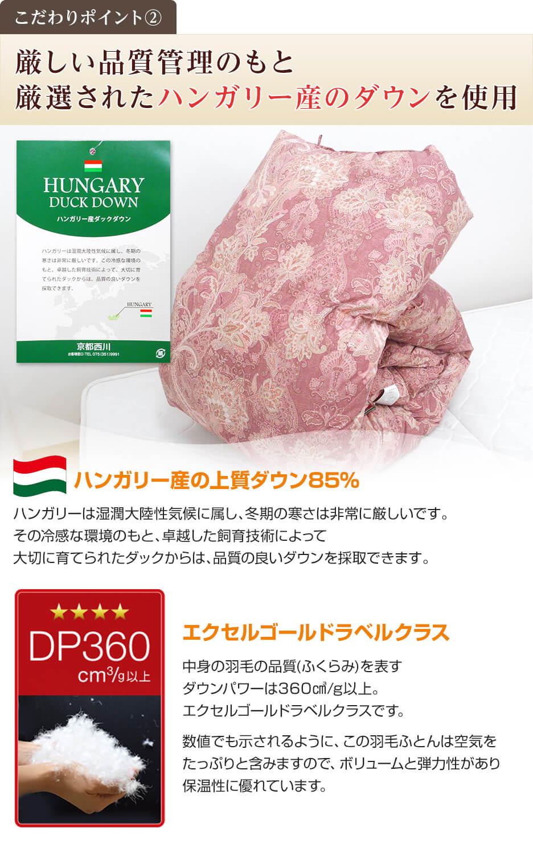 厳しい品質管理のもと 厳選されたハンガリー産のダウンを使用