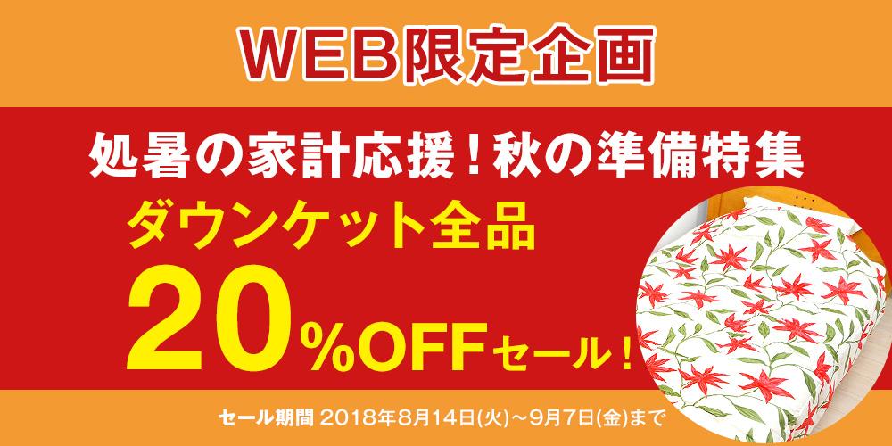 WEB限定 処暑の家計応援!秋の準備特集 ダウンケットがお得なセール